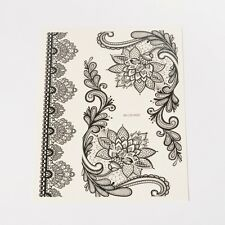 1pc Removable Fake Temporary Tattoos Paper Stickers Lace Black 160~190x36~73mm