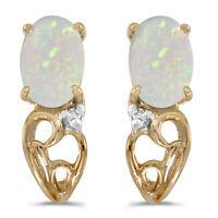 10k Yellow Gold Oval Opal And Diamond Earrings
