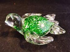 hand blown Glass Turtle paper weight green