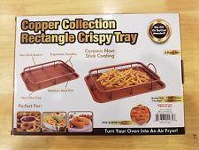 Copper Air Fryer Oven Crisper - 2 Pc Set - Chef Baked Crispy Fried Chicken Fries