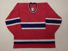 VINTAGE BAUER MONTREAL CANADIENS ADULT SZ XL JERSEY RED MADE IN CANADA NO CREST