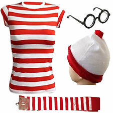 WOMEN'S GIRLS WHERES WALLY STRIPS T-SHIRT KIT HEN PARTY COSTUME BOOK WEEK DAY