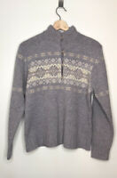 WOOLRICH Lavender Purple Nordic Style 3/4 Button Sweater Lambs Wool Size Large
