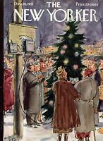 1952 New Yorker Cover only December 20 - Christmas Carols in New Rochelle