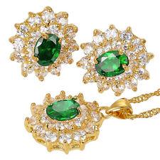 Melina Jewelry Set Green Emerald Flower Oval Cut Necklace Pendant Earrings