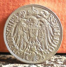 High Grade 1910 G 25 Pfennig Germany - Empire Coin Mintage only 330,000 KM# 18
