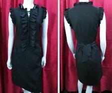 Ted Baker Wool Blend Black Dress Silk Ruffle Button Up Frill  Size 3 UK 12