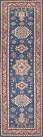 Vegetable Dye Super Kazak Geometric Hand-knotted Oriental Runner Rug Wool 3x10