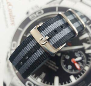 Fur OMEGA  NATO Strap James Bond Armband 20 mm schwarz grau  + silber Schliesse