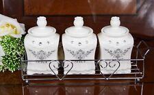Set Of 3 Diamante Ceramic Spice Jars Set In Stainless Rack Wedding Gift