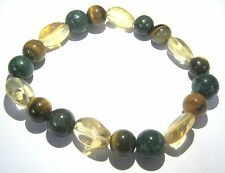 TIGERS EYE CITRINE BLOODSTONE BEADED BRACELET CRYSTAL JEWELRY FASHION GIFT FEAR