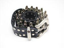 Mens Fallen Black Leather Faux Bullet Belt Size 42 Silver Hardware Punk Rock