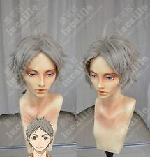 Haikyuu!! Koushi Sugawara Cosplay Wig Short Layered Beige Gray Hair Wigs MKN6