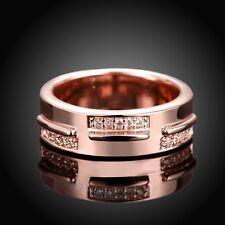 Ladies 18K Rose Gold GP Swarovski Crystal Wedding Engagement Ring Size 9