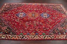 EXCELLENT Geometric Tribal Vegetable Dye RED Abadeh Nafar Area Rug Wool 6'x9'