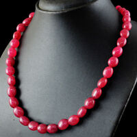 365.00 Cts Earth Mined Single Strand Red Ruby Oval Shape Beads Handmade Necklace