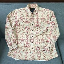 Woolrich Red Beige Southwestern Shirt 100% Cotton Serge Women Button Down L