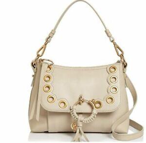 See by Chloe JOAN Grained Calfskin Grommet Shoulder Bag Cement Beige/Gold ~LAST