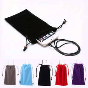 Universal Leisure Cotton Velvet Phone Pouch+Lanyard Strap for Samsung iPhone12