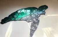 Aquatic Sea Turtle Metal Decor teal tainted