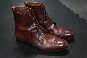 Allen Edmonds Mens Boots Dalton Cherry Brown Leather Wingtip Oxford Size13