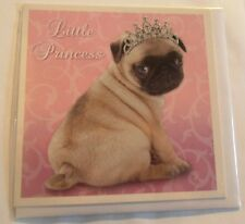 Little Princess Pug Dog glitter tiara Have a magical birthday! square pink card