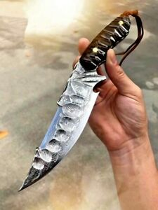 Handmade Clip Point Knife Hunting Tactical Forged Damascus Steel Wood Handle Cut