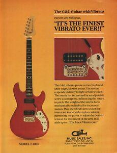 1982 G&L Model F-100I Guitar with Vibrato - the finest vibrato ever - Vintage Ad