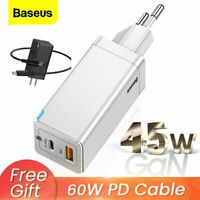 Baseus GaN USB Type C Wall Charger Laoptop Phone Fast Charge Adapter US EU Plug