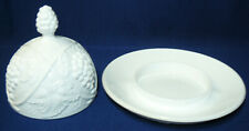 Duncan Tiffin Palm Beach Milk Glass Butter Dish - Scarce