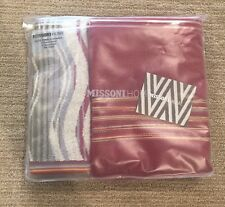Missoni Home Bath Towel Set Of 2 One Hand Towel 1 Guest Towel Red Swirls Stripes