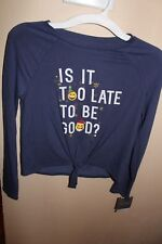 Is It Too Late To Be Good Long Sleeve Shirt Top Christmas Blue Sz L Girls Ret 15
