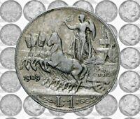 Italia - Regno - Vittorio Emanuele III - 1 lira 1909 Quadriga Veloce NC argento