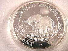 2011 Somalia African Wildlife Elephant w/baby 1 oz .999 Silver BU Coin Capsule