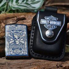 Zippo Lighter - Harley Davidson HDPBK Belt Pouch Case HD Skull Crossbones 28229