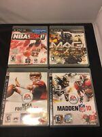 Lot of 4 Sony Playstation 3 Video Games - NBA 2K11 , NCAA 09 ,MADDEN 10 , MAG .