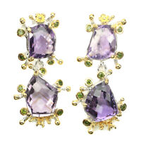 Handmade 27.12ct Amethyst Chrome Diopside Natural 925 Sterling Silver Earrings