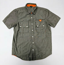 L-R-G  Woven Collection 100% Cotton BUTTON DOWN SHORT Sleeve COLLAR SHIRT