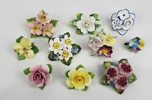 LOT OF 10 BONE CHINA PORCELAIN FLOWER FLORAL PINS BROOCHES