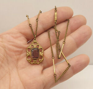 Beautiful Antique Victorian Faceted Amethyst Glass Pendant Necklace