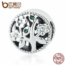 Bamoer Fine European S925 Sterling Silver Life Tree charm With CZ fit Bracelet