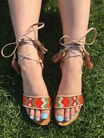 STAR MELA sandals flats Kanti beading ankle strap tie Greek UK 5.5 6 US 7.5 8