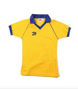 Deadstock Vintage 80s Youth Large Sweden World Cup Soccer Jersey Yellow Collared