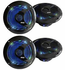 Pyle Audio 150W 6.5-Inch Waterproof Marine Speakers w/ LED Lights (4 Speakers)
