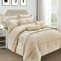 Luxury Beige Bedspread 7 Piece Comforter Set Soft Jacquard Bedding Double & King