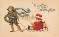 Christmas~Girl Pulls Baby Sister on Sled~Red Hat~Fur Muff~Wind Blows Scarf~House