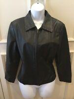 Preston & York Petites Women's Genuine Leather Jacket Size Large Black Front Zip