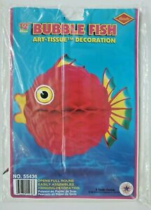 1994 Beistle Tissue Bubble Red Fish Luau Marine Life Party Decoration New