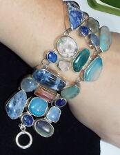 """D. Cell Sterling Silver Bezel Lapis Tourmaline Opal Quartz Agate 7"""" Bracelet"""