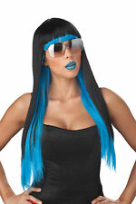 Adult Long Black Blue Two-Tone Punk Rock Diva Glam Costume Wig